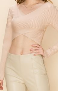 HYFVE Ribbed Crossover Cropped Sweater